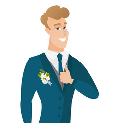young caucasian groom giving thumb up vector image