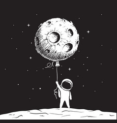 cute astronaut keeps a moon vector image vector image