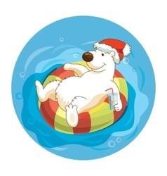 Little cute white bear wearing santa hat is vector image vector image