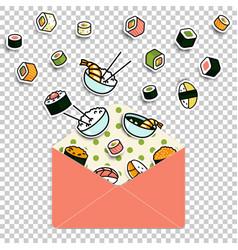 Meal rolls sushi set in paper mail envelope vector