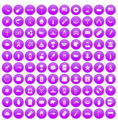 100 usa icons set purple vector