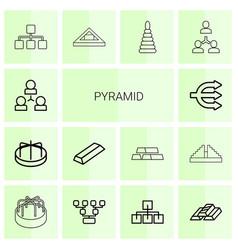 14 pyramid icons vector