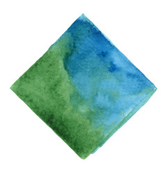 Abstract blue and oak green square watercolor vector