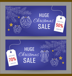abstract christmas sale banner vector image