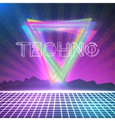 Abstract techno 1980s style background vector