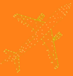 Airplane wireframe of the yellow lines on an vector