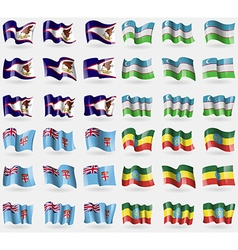 American Samoa Uzbekistan Fiji Ethiopia Set of 36 vector