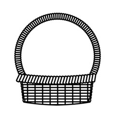 Basket easter celebration ornament line vector