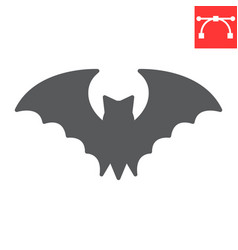 Bat glyph icon halloween and scary bat sign vector