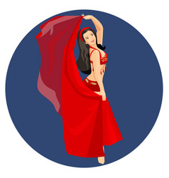 Belly dancer in traditional long red turkish dress vector