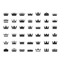 big set king crowns icon on white vector image