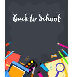 black board back to school background flat style vector image