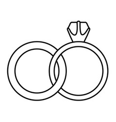 black silhouette of wedding rings vector image