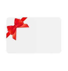 Blank gift card template with red bow and ribbon vector