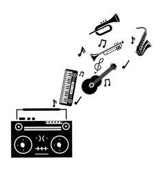 boom box and music instrument vector image