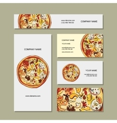 Business cards design with pizza sketch vector