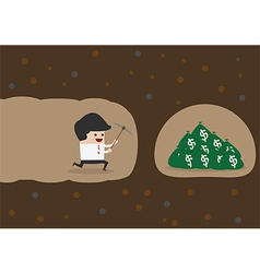 Businessman digging to find money vector image