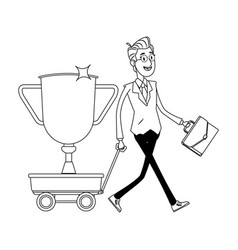Businessman pulling a wagon black and white vector