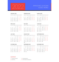 Calendar for 2022 year week starts on monday vector