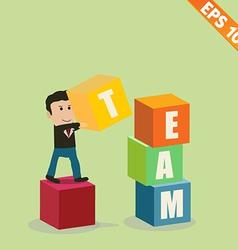 Cartoon Businessman stacking team box - - EP vector image