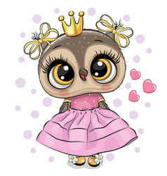 Cartoon owl princess in a pink dress with hearts vector