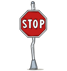 cartoon red stop traffic sign on steel pole vector image