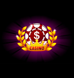 casino banner with poker chip and crown icon and vector image