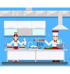 Chefs cooking food in kitchen room vector image