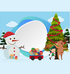 christmas background with snowman and tree vector image