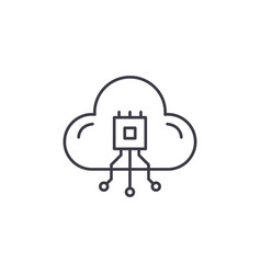 cloud technologies system line icon concept cloud vector image
