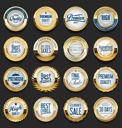 Collection of golden retro vintage badges 01 vector