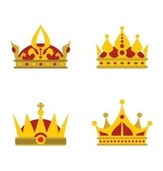 Color crown icons on white background vector image