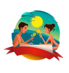 couple with cocktails at seaside vector image