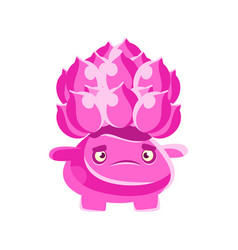 Cute pink cactus with a frustrated face cartoon vector