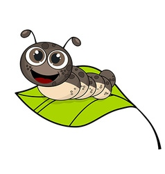 Cute smiling cartoon caterpillar on fresh green vector image
