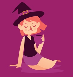 Cute Witch with Mug vector