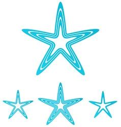 Cyan line star logo design set vector