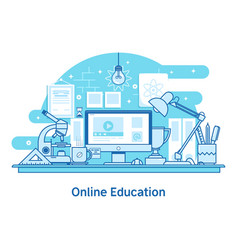 E-learning education online line design concept vector