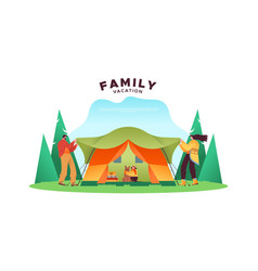 family vacation concept people with camping tent vector image