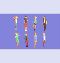 Fashionable guys and girls dressed in trendy vector