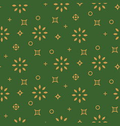 festive seamless pattern background green and gold vector image