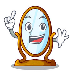 Finger big dressing mirror isolated on mascot vector