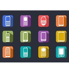 flat cell phone long shadow icons vector image vector image