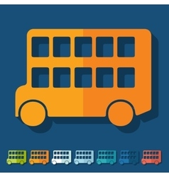 Flat design bus double decker vector
