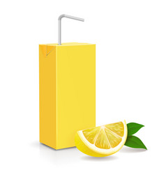 fresh lemon and paper pack fruit straw isolated vector image