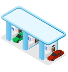 Gas Station Building and Cars Isometric View vector