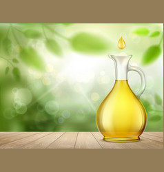 Glass jug with yellow oil and a drop vector