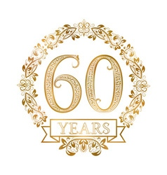 Golden emblem of sixtieth years anniversary in vector