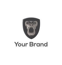 gorilla shield logo template vector image