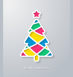 Greeting card with paper cut Christmas tree vector image
